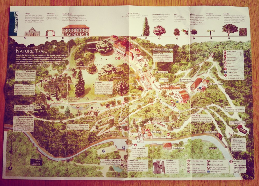 Map of the nature trail in the Monserrate Gardens ©MLVB