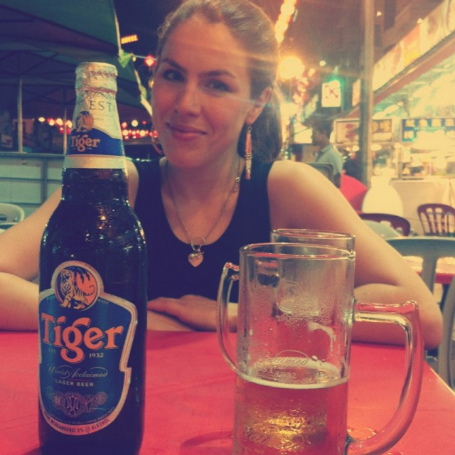 Drinking Tiger Beer in Jalan Alor