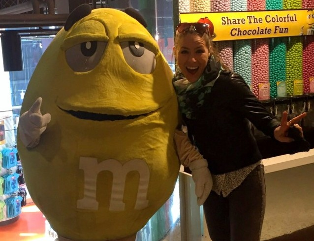"""Dear visitors of M&M world. Mellow Yellow is entering the building and ready to take pictures with you.."""